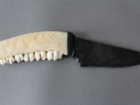 Deer Jaw Knife with Buck Carving